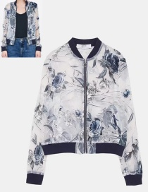 Fashion White Flower Pattern Decorated Jacket