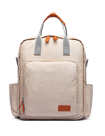 Fashion Beige Pure Color Decorated Backpack