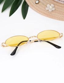 Fashion Yellow Oval Shape Decorated Sun Glasses