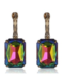 Fashion Multi-color Square Shape Decorated Earrings