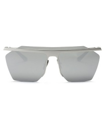 Fashion Light Gray Geometric Shape Decorated Sun Glasses