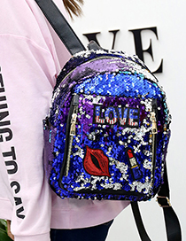 Lovely Blue Lipstick Pattern Decorated Backpack