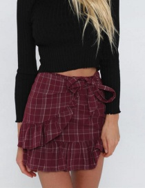 Fashion Red Grid Pattern Decorated Simple Skirt