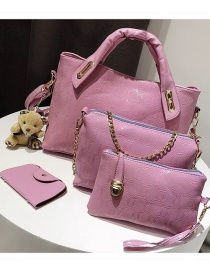 Fashion Pink Pure Color Decorated Shoulder Bag (4 Pcs )