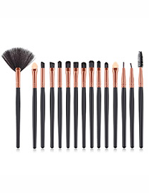 Fashion Rose Gold+black Sector Shape Decorated Makeup Brush (15 Pcs )