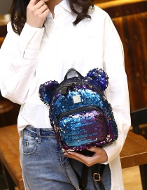 Fashion Blue Pure Color Decorated Paillette Backpack