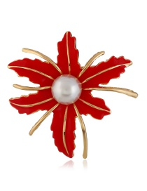 Fashion Red Maple Leaf Shape Decorated Brooch