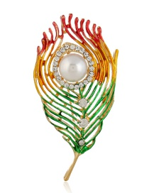 Fashion Multi-color Feather Shape Decorated Brooch
