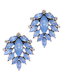 Fashion Blue Leaf Shape Decorated Earrings