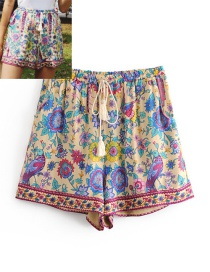 Fashion Beige Peacock&flowers Pattern Decorated Shorts