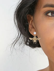 Fashion Gold Color Bee Shape Decorated Simple Earrings
