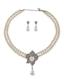 Elegant White Flowers Decorated Double Layer Jewelry Sets