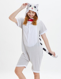 Lovely Gray Cat Pattern Decorated One-piece Pajamas(for Adult)