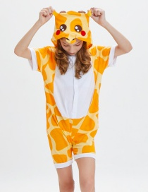 Lovely Yellow+white Giraffe Pattern Decorated One-piece Pajamas(for Adult)