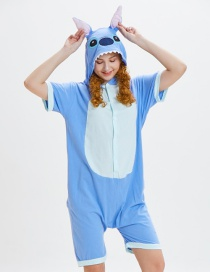 Lovely Blue Cartoon Pattern Decorated One-piece Pajamas(for Child)
