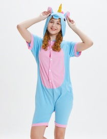 Lovely Pink+blue Horse Pattern Decorated One-piece Pajamas(for Child)