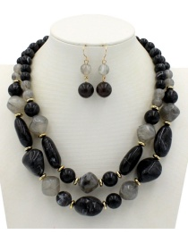 Fashion Black Beads Decorated Double Layer Jewelry Sets