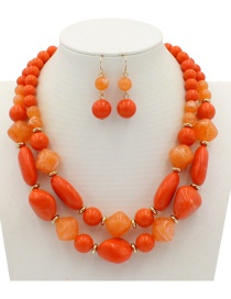 Fashion Orange Beads Decorated Double Layer Jewelry Sets