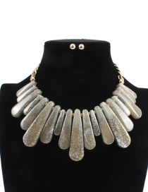 Fashion Beige Irregular Shape Design Pure Color Necklace (not Set)