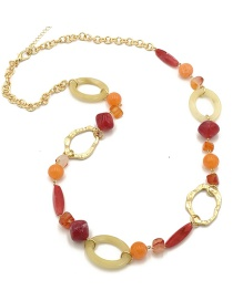 Fashion Red Circular Ring Decorated Long Necklace