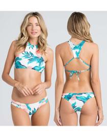 Sexy Blue High-neckline Design Bandage Bikini