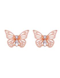 Fashion Rose Gold Butterfly Shape Decorated Hollow Out Earrings