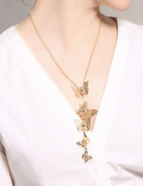 Fashion Gold Color Butterfly Pendant Decorated Long Necklace