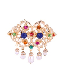 Fashion Gold Color Pearls&diamond Decorated Hollow Out Brooch