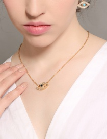 Fashion Gold Color Eye Pendant Decorated Necklace