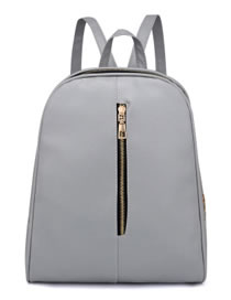 Fashion Light Gray Pure Color Decorated High-capacity Backpack