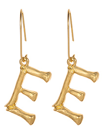 Fashion Gold Color Letter E Decorated Pure Color Earrings