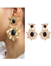 Fashion Gold Color Leaf Decorated Hollow Out Earrings