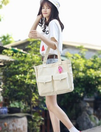 Fashion Beige Pure Color Decorated High-capacity Bag