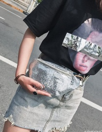 Fashion Silver Color Sequins Decorated Pure Color Bag