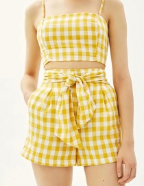 Fashion Yellow Grids Pattern Decorated Pants