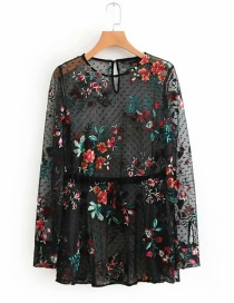 Fashion Black Flower Pattern Decorated Long Sleeves Blouse