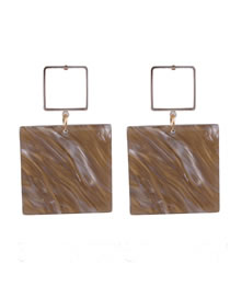 Fashion Brown Square Shape Decorated Pure Color Earrings