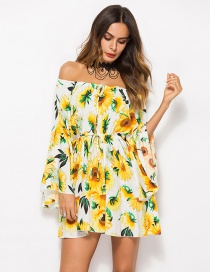 Sexy Yellow+white Flowers Pattern Decorated Off Shoulder Dress