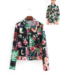 Fashion Black Leaf&flower Pattern Decorated Coat