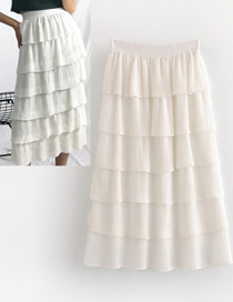 Fashion White Pure Color Design Multi-layer Skirt