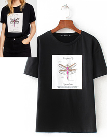 Fashion Black Dragonfly Pattern Decorated T-shirt
