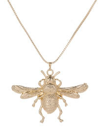 Elegant Gold Color Bee Pendant Decorated Pure Color Necklace