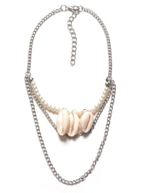 Trendy Silver Color Shells Decorated Multi-layer Arm Chain