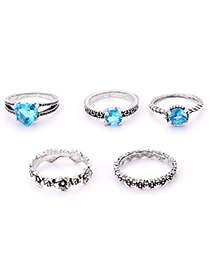 Fashion Silver Color Full Diamond Decorated Ring(5pcs)