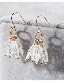 Fashion White Tassel Decorated Earrings