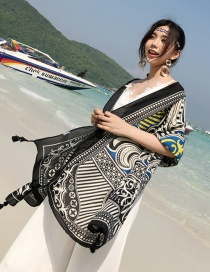 Fashion Black Tassel Decorated Flower Pattern Shawl