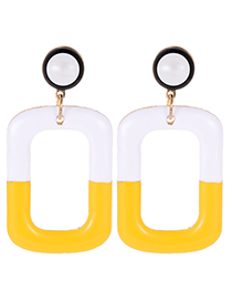 Fashion Yellow Square Shape Decorated Color-matching Earrings