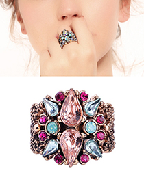Fashion Pink Waterdrop Shape Decorated Opening Ring