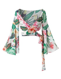 Fashion Green Flower Pattern Decorated Long Sleeves Blouse
