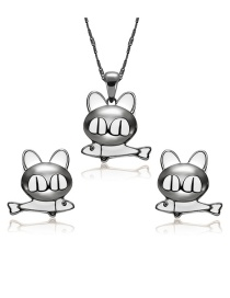 Fashion Silver Color Cat Shape Decorated Jewelry Sets
